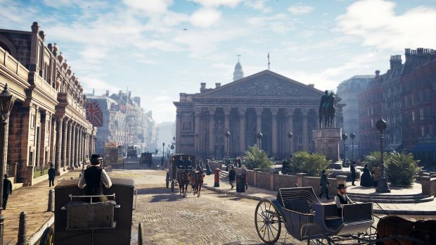 The Bank of England and Royal Exchange, as seen in <i>Assassin's Creed Syndicate</i>.