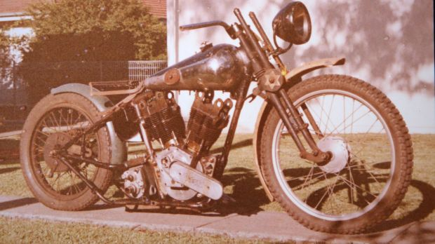 A vintage Brough motorbike owned by the late Gary Ross.