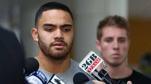 Rabbitohs in the spotlight: Dylan Walker and Aaron Gray speak to the media following their release from St Vincent's ...