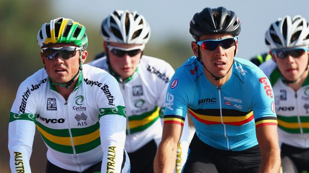 Hoping for a big finish:  Simon Gerrans (left) preparing for the world championships.