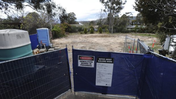The empty block of land at 9 Darke Street, Torrens, where a Mr Fluffy home was demolished.
