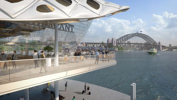 Early concept designs show a potential two-storey wharf over the harbour's waterline, which the government says is an ...
