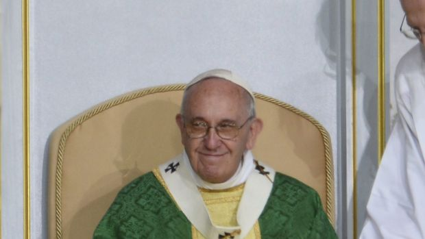 Pope Francis celebrates a final Mass in Philadelphia on Sunday.