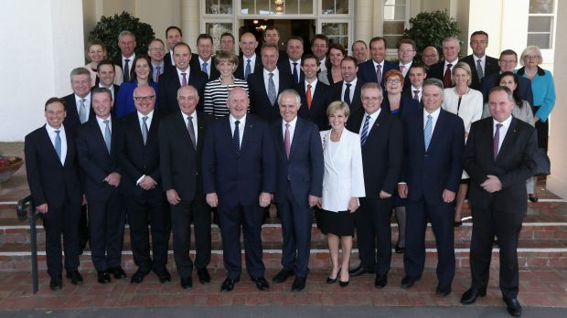 The Turnbull cabinet, shortly after Malcolm Turnbull won the prime ministership.