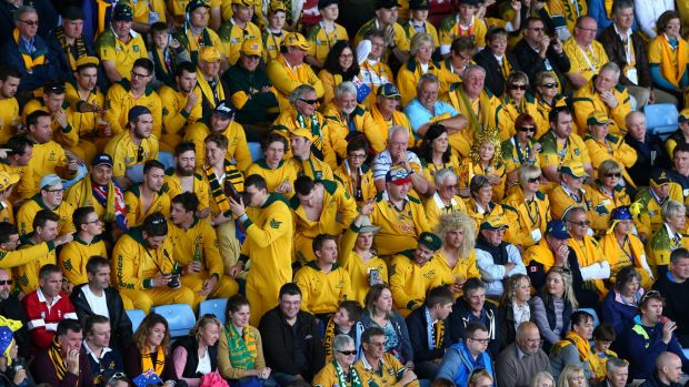 Show of support: Australian fans watch the action during the 2015 Rugby World Cup Pool A match between Australia and ...