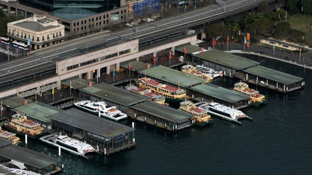 """The Cahill Expressway looms over the Circular Quay ferry wharves. """"If they thought about it they could have done much ..."""