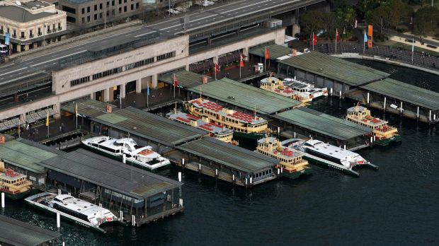 The Cahill Expressway sits above the Circular Quay ferry wharves.