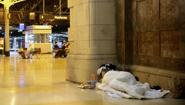 Sleeping rough at Central station.