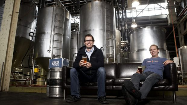 Cam Hines (left) and Dave Bonighton, of Mountain Goat Brewery in Richmond, Melbourne, sold their business to Asahi.