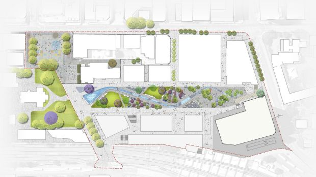 The proposed concept design for Parramatta Square public space.