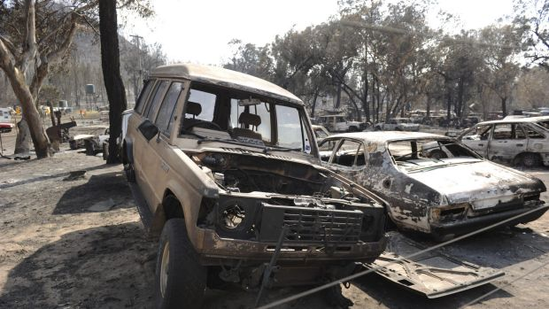 A property filled with car bodies destroyed by the fire on Black Sunday, 2013.