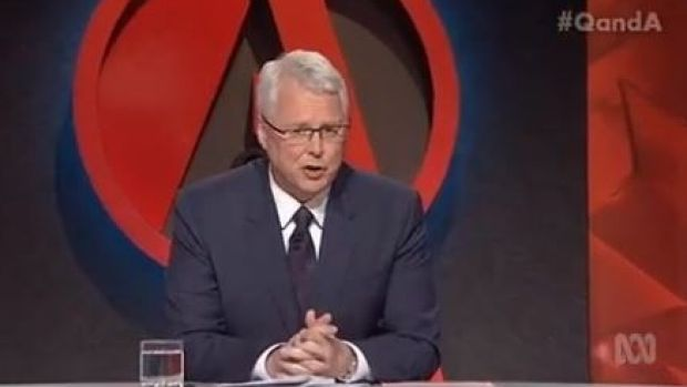 <i>Q&A</i> host Tony Jones sparked the debate by pointing out the Syrian passport found by the body of one of the Pairs ...