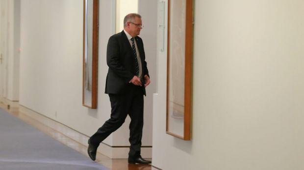 Scott Morrison enters Tony Abbott's office on the night of the leadership spill.