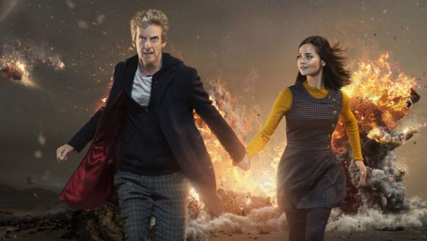 Peter Capaldi is the twelfth incarnation of the Doctor, with Jenna Coleman as Clara in <i>Doctor Who</i>.