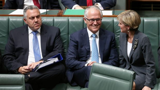 Former treasurer, Joe Hockey, Prime Minister Malcolm Turnbull and Foreign Affairs Minister Julie Bishop in Parliament ...