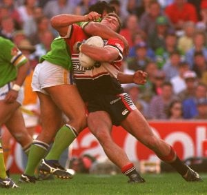 John Lomax's high shot on Billy Moore in the 1994 preliminary final cost him grand final glory with Canberra Raiders