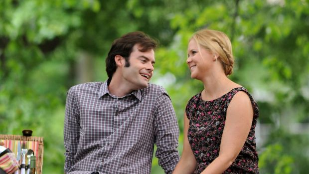 Bill Hader and Amy Schumer on the set of <i>Trainwreck</i>.
