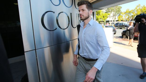 Gable Tostee arrives at Southport court charged with the murder of Warriena Wright.