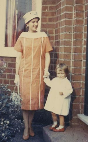 Jane Caro, with daughter Kate, dressed up for an outing.