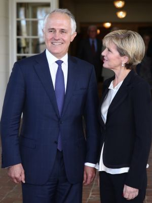 "Prime Minister Malcolm Turnbull, pictured with Foreign Minister Julie Bishop, last month called the deal ""a gigantic ..."