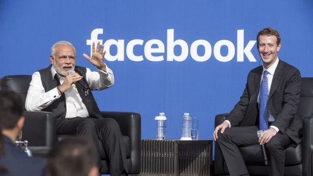 Indian Prime Minister Narendra Modi and Facebook chief Mark Zuckerberg held a town hall meeting at Facebook's ...