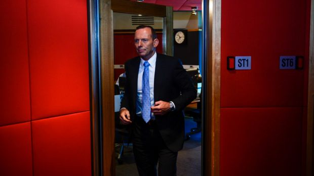 Former prime minister Tony Abbott enters the radio interview, his second since losing the top job.