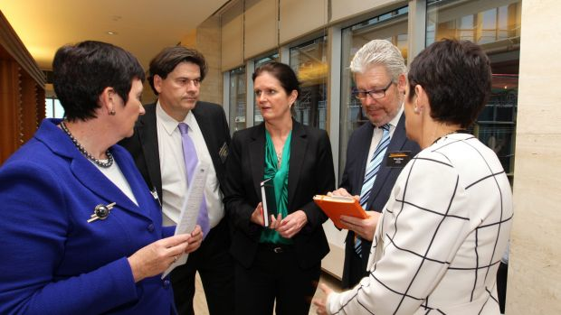 Jennifer Westacott (left),  Innes Wilcox, Cassandra Goldie, Dave Oliver and Kate Carnell at the National Reform Summit ...