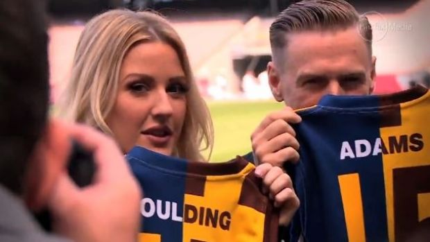 Ellie Goulding and Bryan Adams at a pre-game press conference.