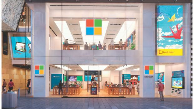 A rendering of Microsoft's Sydney store.
