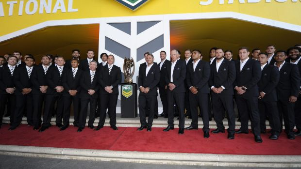 Northern intruders: Players from the Brisbane and North Queensland grand final teams in Sydney on Thursday.