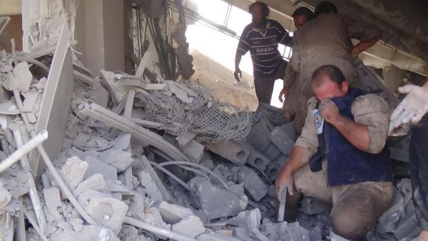 Khaled Khoja, head of the Syrian National Council opposition group, said at the UN that Russian air strikes in four ...