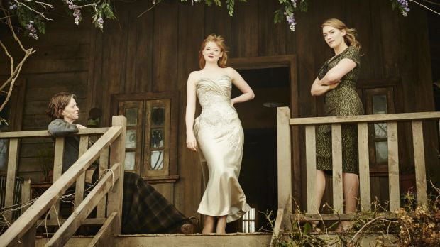 """Sarah Snook (centre) alongside co-stars Judy Davis and Kate Winslet after her character's """"classic ugly duckling to ..."""