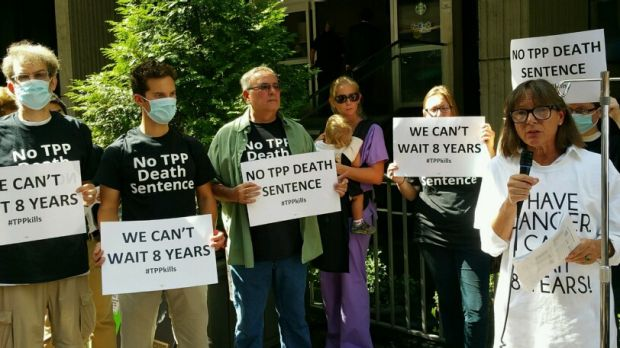 Protesters who were concerned about the TPP effect on health gather in Atlanta, Georgia.