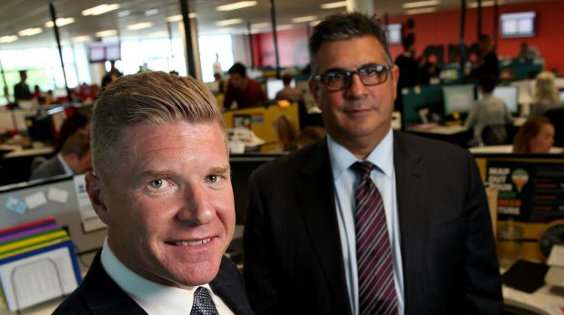 Andrew Demetriou, right, with John Wall, chief executive of Acquire Learning, which has been accused of taking advantage ...