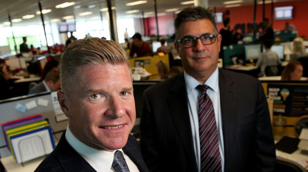 Acquire Learning Group Managing Director John Wall (left) with one-time advisory group chairman Andrew Demetriou.