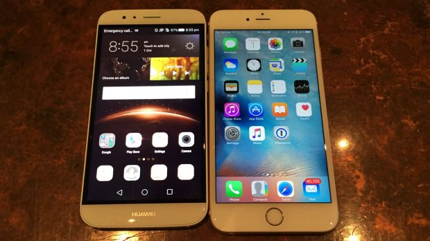 The G8, left, and the iPhone 6s Plus.