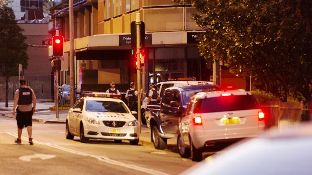 Police block off Charles Street in Parramatta, where two people were shot.