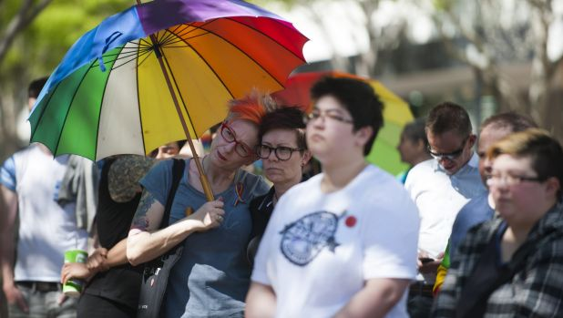 Campaigners for equal marriage rights congregated in Civic.