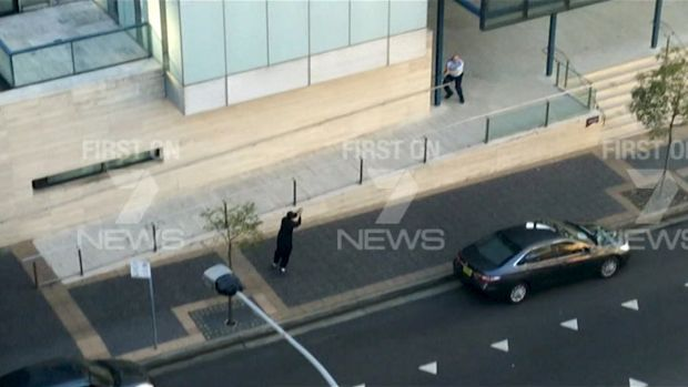 Police take aim at Farhad Jabar after he killed Curtis Cheng outside Parramatta police headquarters.