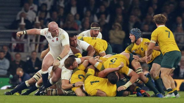 An England scrum collapses during the Rugby World Cup Pool A match between England and Australia at Twickenham in London ...