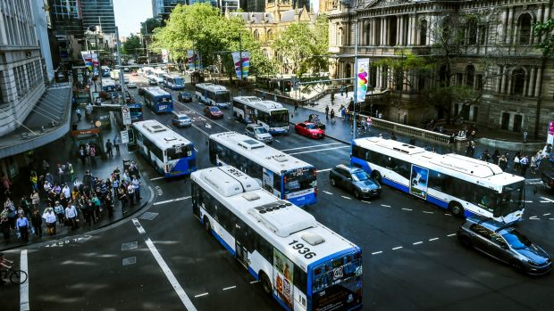 George Street on the last business day before the road closed for buses earlier this month.