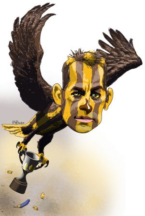 Full flight: Hawthorn's Alistair Clarkson.