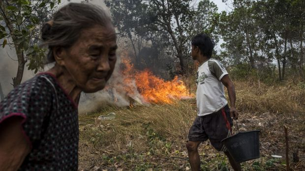 A man carries a bucket of water as he tries to extinguish a fire on burned peatland near his house in Ogan Ilir ...