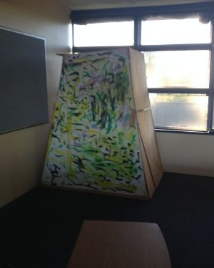 """The two-metre-tall """"desensitising box"""" in the classroom."""