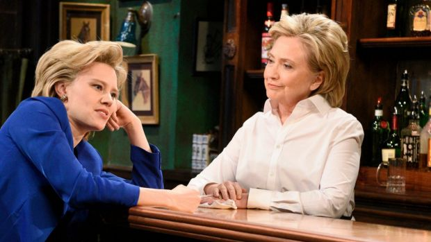 Presidential candidate Hillary Clinton dropped in at the late night comedy show Saturday Night Live on Saturday, ...