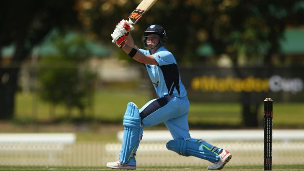 Flying start: Steve Smith of the Blues bats during the Matador Cup match.