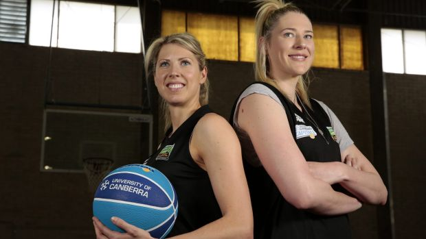 Canberra Capitals co-captains Carly Wilson and Lauren Jackson at the University of Canberra basketball court.