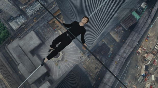 Joseph Gordon-Levitt as Philippe Petit lies down on the wire during his crossing between the Twin Towers in <i>The Walk</i>.