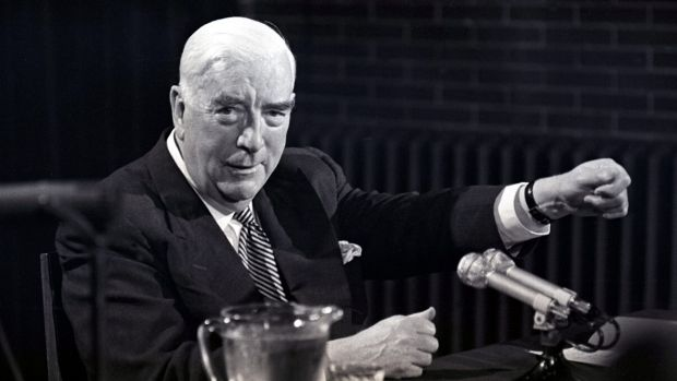 Prime Minister Robert Menzies holds his last press conference in Canberra on 20 January, 1966.