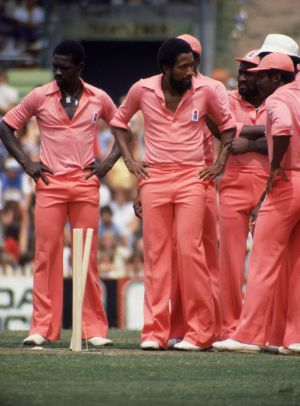 The West Indies in action during a World Series Cricket Supertest against Australia in 1979.